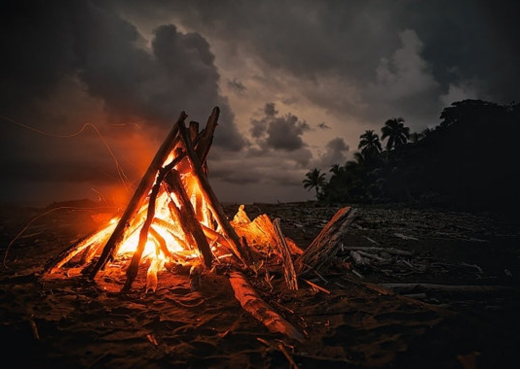 Tropical Island Beach Ambience Sound: Campfire On A Beach At Night With A Storm In The Distance