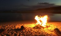 Bonfire on the beach at night